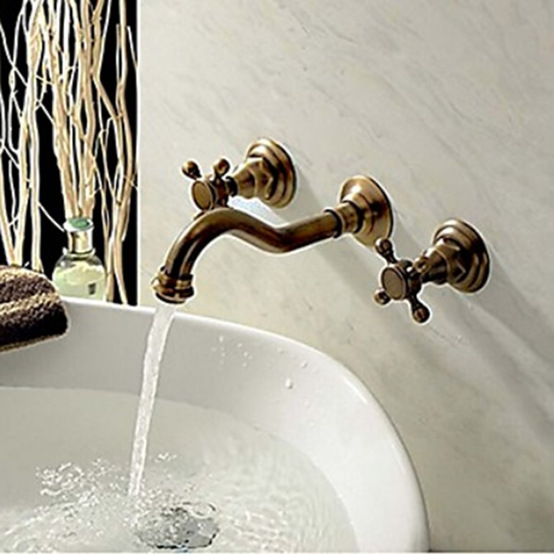 Wall Mounted Dual Handles Antique Brass Finish Bathroom Shower Faucet Mixer Tap free shipping polished chrome finish new wall mounted waterfall bathroom bathtub handheld shower tap mixer faucet yt 5333
