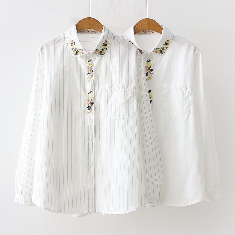 Efficient Kyqiao Women Cotton Shirt 2019 Mori Girls Spring Japanese Style Sweet Fresh Long Sleeve Embroidery White Blouse Camisas Mujer Perfect In Workmanship Blouses & Shirts