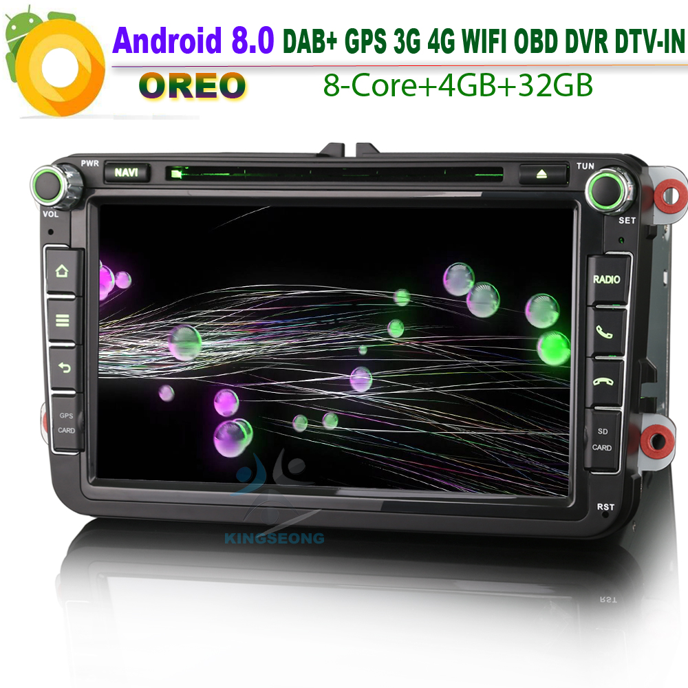 Android 8.0 Car GPS Navigation player for VW Multivan T5 Polo New Beetle 2 Seat DAB+ Car Stereo Radio RDS BT DVD OBD CD OPS Wifi