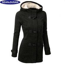 Sean&Susan Winter Horn Button Slim Fleece Coat Women Hoodies Sweatshirts Cotton Basic Jacket Black Velvet Hoodie Pullovers Large