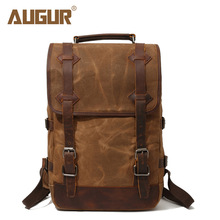 Laptop Backpack College Schoolbag School Opens Canvas BackPack for Men Vintage brown High Quality Knapsack Young Man Travel New