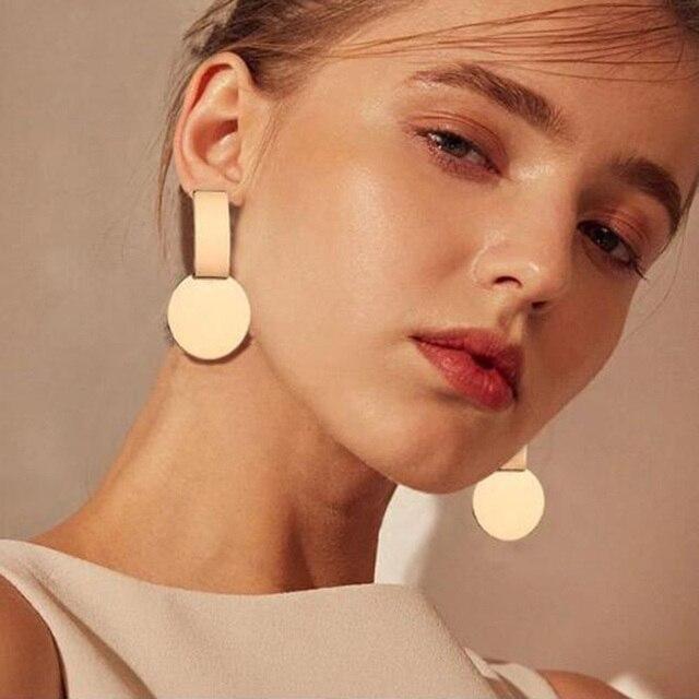 Новый Панк тяжелый металл мотаться индийские цвета: золотистый, Серебристый серьги ZA геометрические серьги для Для женщин Африки Дубай Jewelry 2018