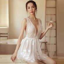 Yhotmeng2019 new sexy nightdress female transparent bud silk yarn backless adjustable shoulder strap flower print nightdress set цена 2017