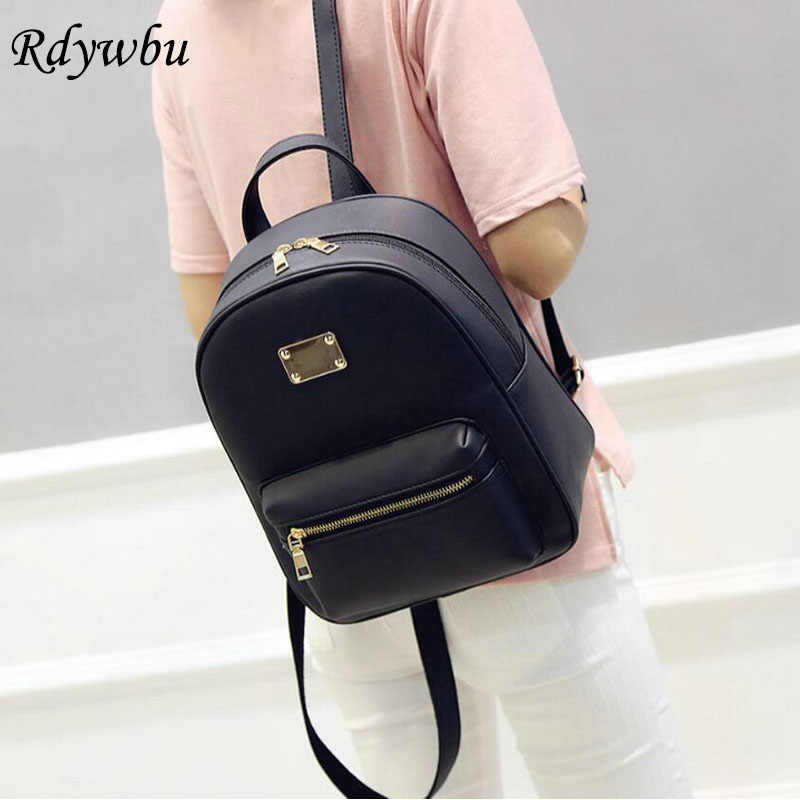 13a2a9637be3 Rdywbu Retro Popular Candy Color Backpack Black Grey Pink PU Leather Ladies  Fashion School Bag Small
