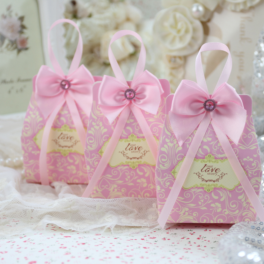 Aliexpress.com : Buy 100pcs/lot Small Pink Wedding Favor Box with ...