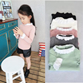 Cute Girls T Shirt Solid Long Sleeve Turtleneck Sweet Children Girls T-shirt Fashion Kid Child T Shirt Girls Comfortable Clothes