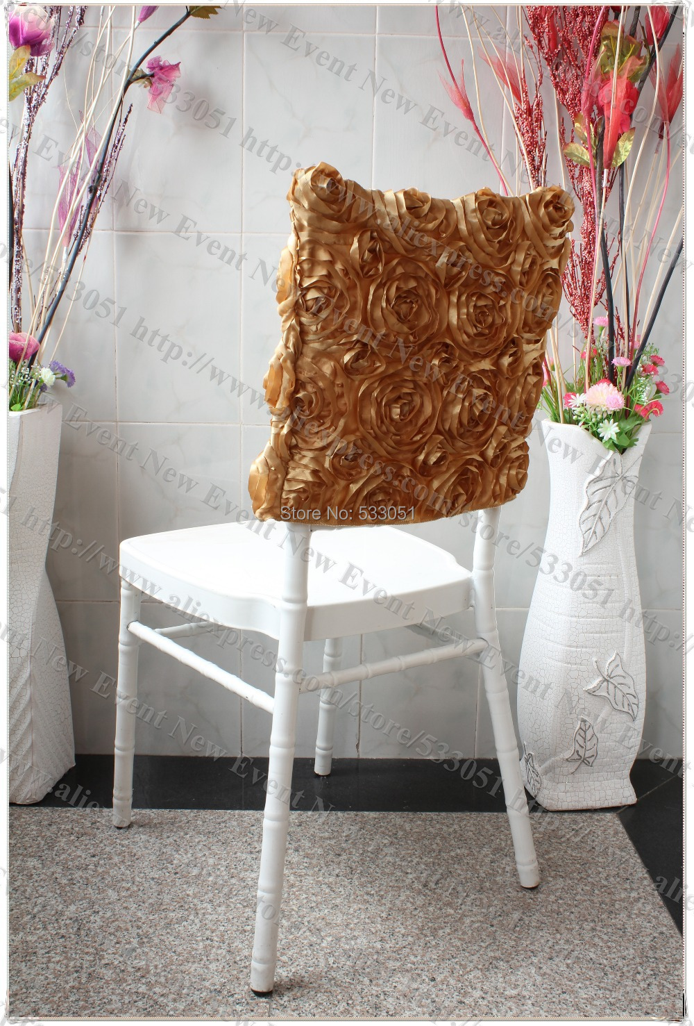 chair caps covers revolving price in kolkata gold 3d round rosette cap hood cover satin embroidered runner for wedding party banquet decorations