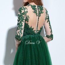 Dressv green appliques homecoming dress A-line scoop neck 3/4 length sleeves button knee-length homecoming&graduation dress