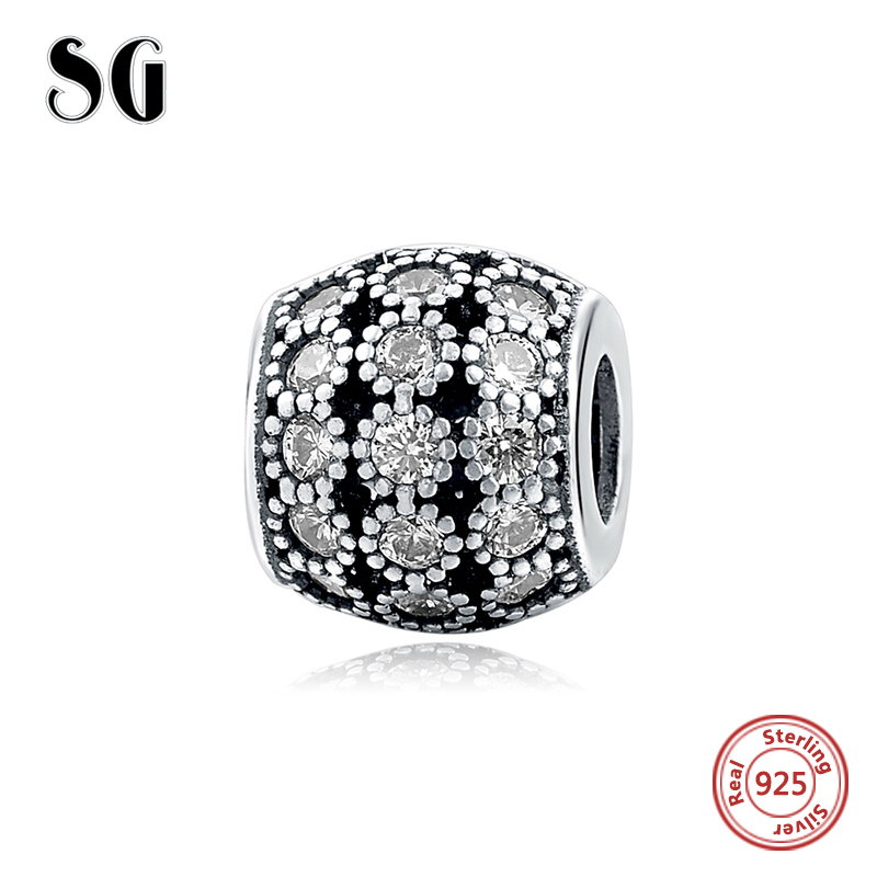 Real 925 Sterling Silver Crystal cz beads Fit pandora charms silver 925 original Bracelet Authentic pendant Luxury DIY Jewelry