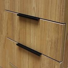 Современный простой скрытый ящик для двери шкафа черная ручка Скрытая дверная ручка из алюминиевого сплава Матовая серебристая ручка края 128 мм 160 мм 96