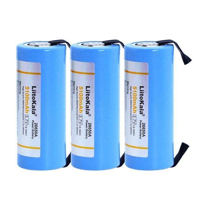 3 PCS Liitokala Engineer 26650 pin có thể sạc lại, 26650A pin lithium, 3.7 V 5100mA 26650-50A màu xanh. Thích hợp cho đèn pin + Nickel