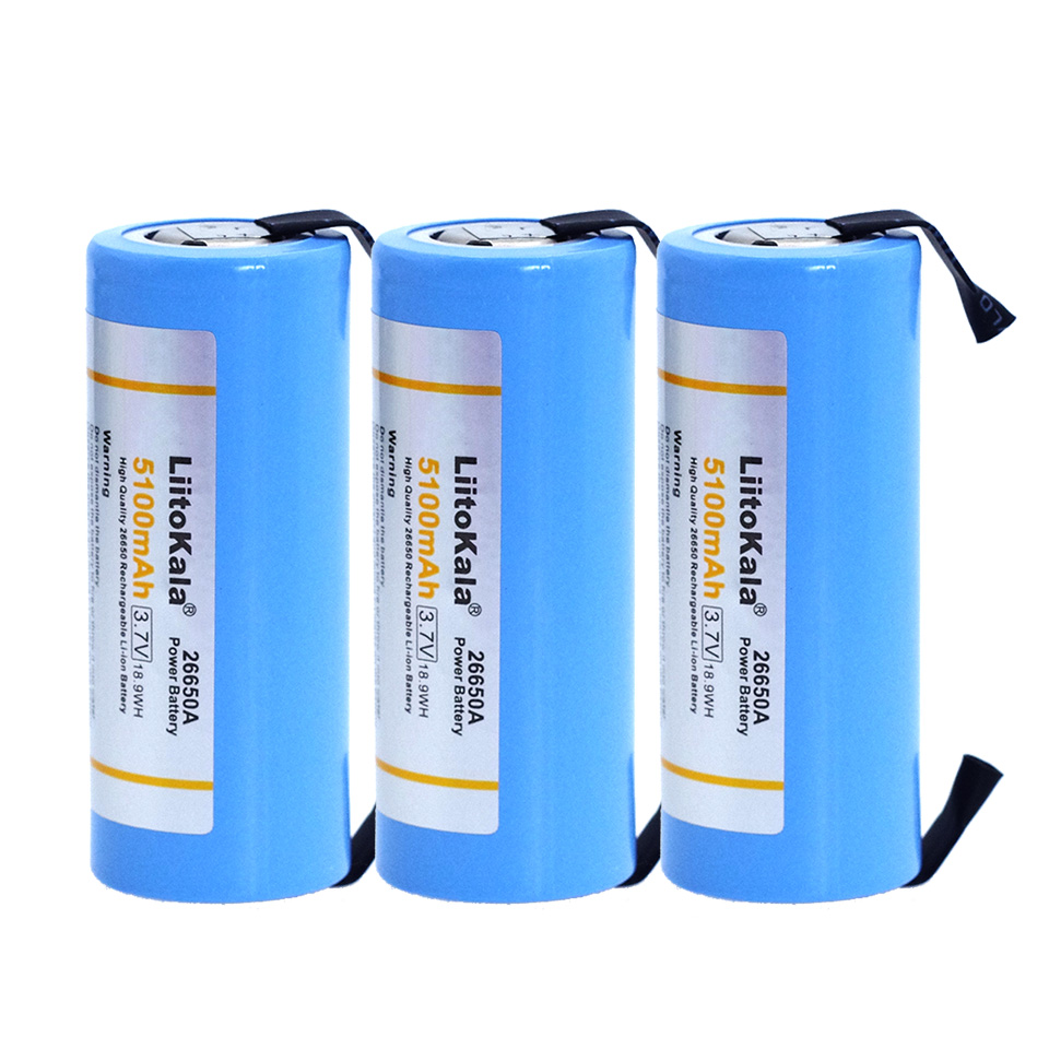 3PCS Liitokala 26650 Rechargeable Battery, 26650A Lithium Battery, 3.7V 5100mA 26650-50A Blue.  Suitable For Flashlight+Nickel