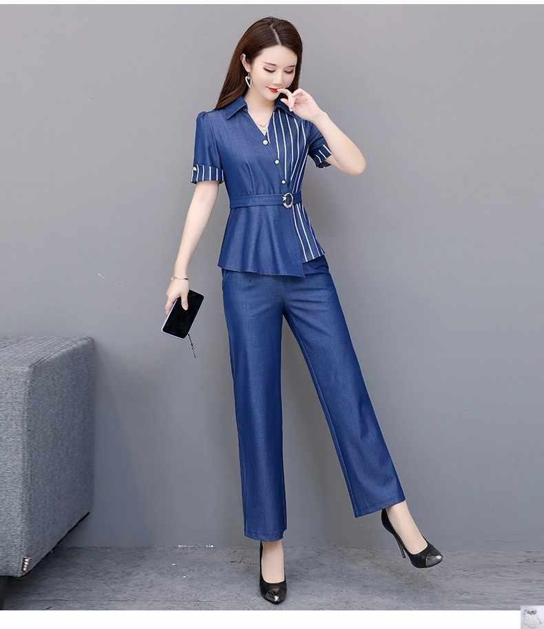 Fashion dames suits Nieuwe hoge kwaliteit 2 peice set vrouwen Korea kleding trend vrouwen zomer pakken Tops + Breed been broek 1263