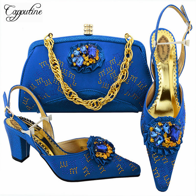 Capputine High Quality Italian Elegant High Heels Shoes And Bag Set New Fashion African Woman Shoes And Bag To Match Set M10572 elegant m