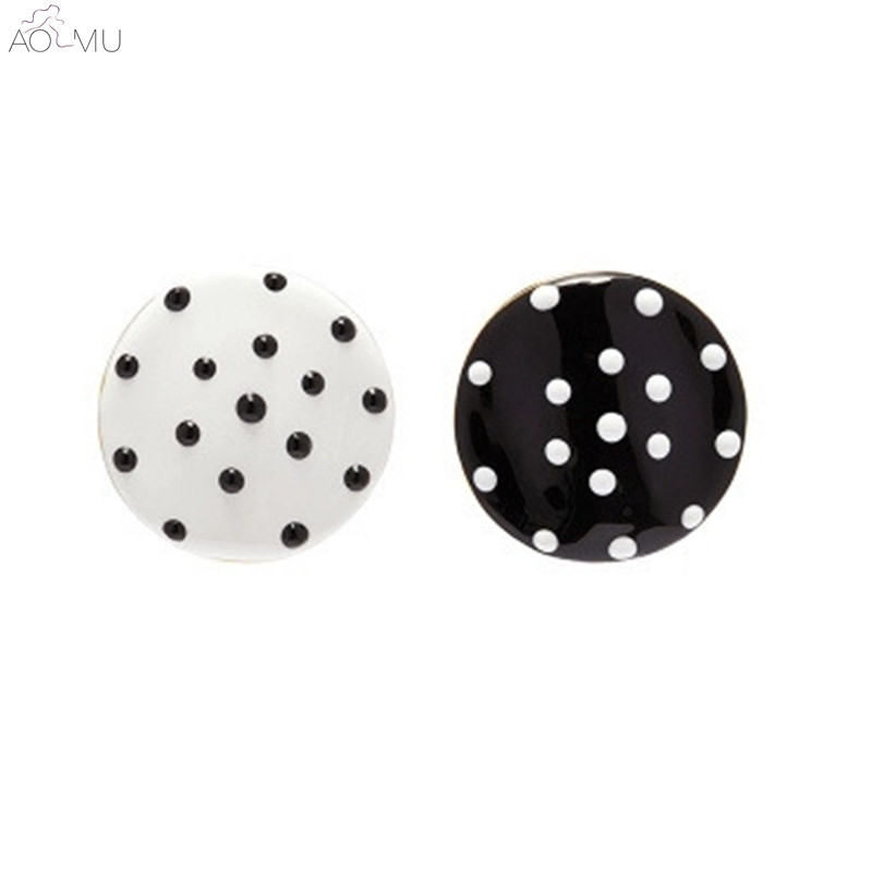 Aomu S925 Sterling Silver Black And White Polka Dot Metal On Geometric Asymmetry Round Earrings For Women