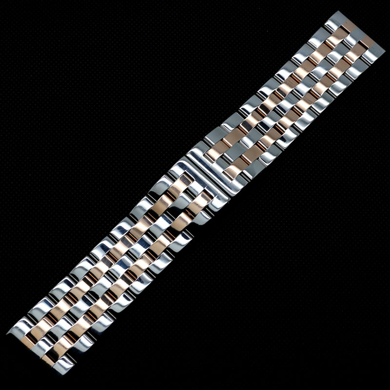 24mm/26mm Two Tone Silver&Rose Golden Five Bead Straight Ended Steel Watch Band Bracelet Strap for Wrist Watches Hours mini 10 hole c tone harmonica black golden
