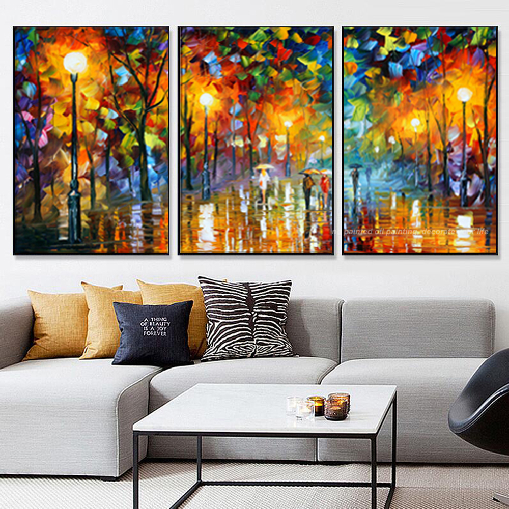 3 piece canvas art abstract paintings acrylic wall decor cheap modern paintings palette knife - Wall paintings for living room ...