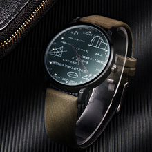 Leather quartz man watches special desgin Mathmatical formula prints fashion men's needle length wristwatch