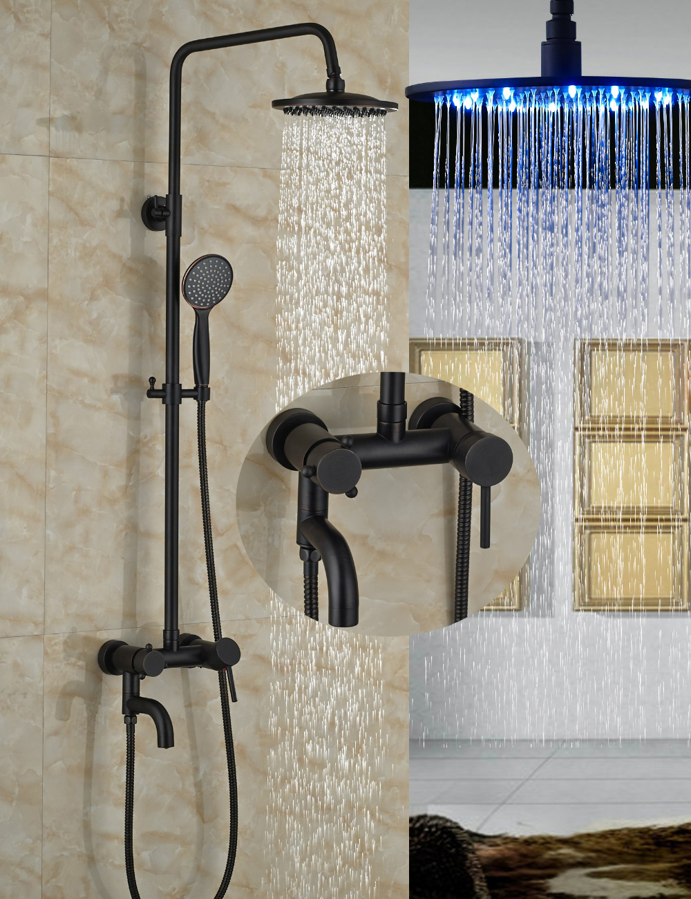 Wholesale And Retail 8 Round Rain Shower Head Oil Rubbed Bronze Wall Mouted Shower Mixer Tap Tub Spout W/ Hand Shower