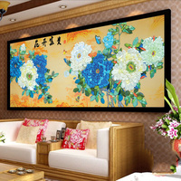 Blue Peony Chinese Style DIY 3d Cross Stitch Kit Needlework Unfinished Ribbon Embroidery Painting Stitching Gift Wall Painting
