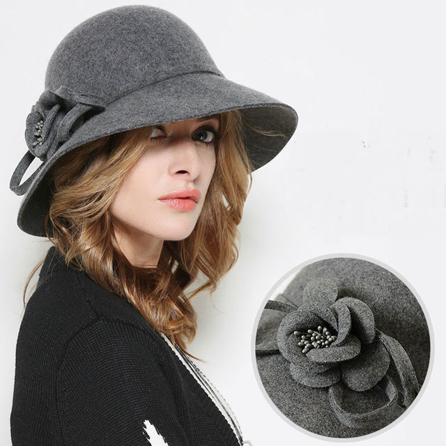 Señora Regalo Inglaterra Flor de Cubo Sombreros de Lana de Las Mujeres de  Moda de Invierno d7f51794fd4