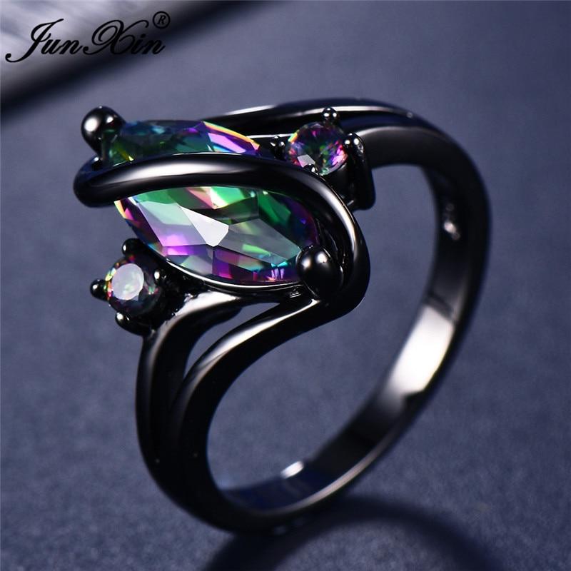 11 farbe Einzigartige Geheimnis Weibliche Mädchen Regenbogen Ring Mode 14KT Schwarz Gold Hochzeit Schmuck Vintage Ringe Für Frauen