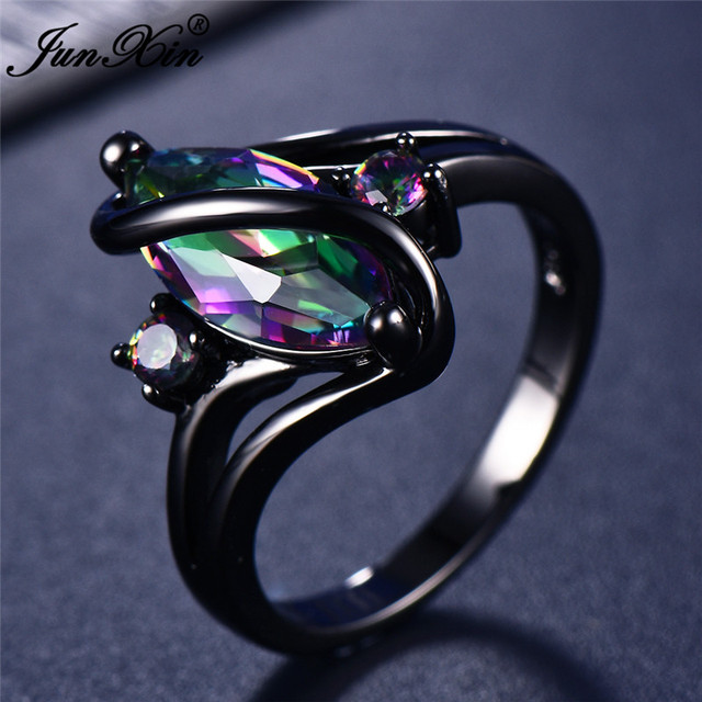 11 Color Unique Mystery Female Girls Rainbow Ring Fashion 14KT Black Gold Wedding Jewelry Vintage Rings For Women