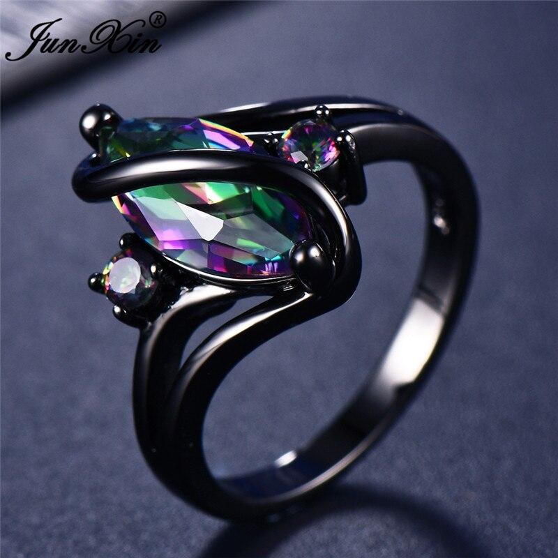 Gerade 11 Farbe Einzigartige Geheimnis Weibliche Mädchen Regenbogen Ring Mode 14kt Schwarz Gold Hochzeit Schmuck Vintage Ringe Für Frauen Hochzeits- & Verlobungs-schmuck