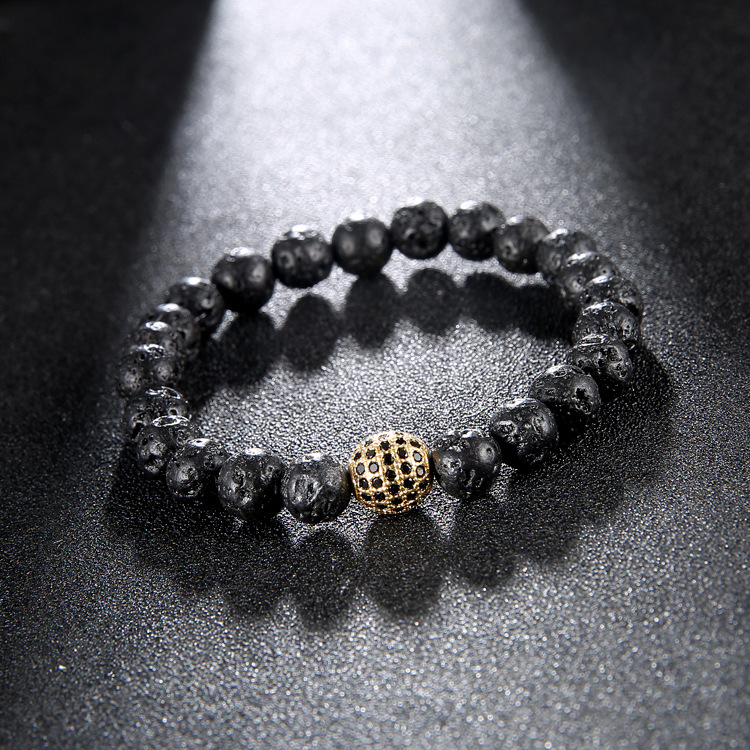 10mm Pave Rose Male Disco Ball Black CZ Zirconia Bracelet Black Lava Stone Bead Bracelets For Men Women Jewelry