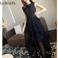 La MaxPa New Women Dress 2018 Summer Elegant Vestidos bodycon Sexy Formal Party Maxi black Lace backless runway Dress