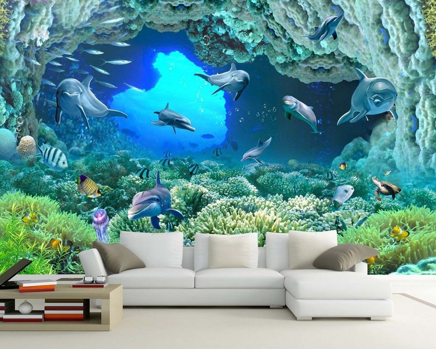 [Self-Adhesive] 3D Underwater World Dolphin 148 Wall Paper Mural Wall Print Decal Wall Murals