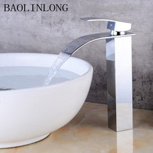 BAOLINLONG Brass Chrome Deck Mount Bathroom Waterfall Faucets Vanity Vessel Sinks Mixer Faucet Tap