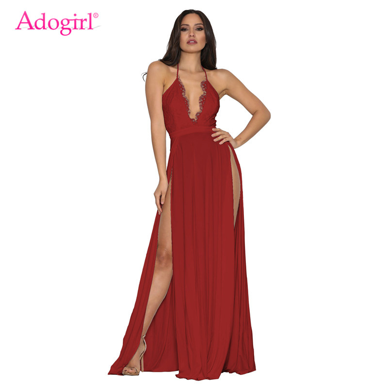 Adogirl Lace Bodice <font><b>High</b></font> <font><b>Slit</b></font> <font><b>Maxi</b></font> Evening Party <font><b>Dress</b></font> Women <font><b>Sexy</b></font> Deep V Neck Halter Backless Long <font><b>Dresses</b></font> Female Club Vestidos image