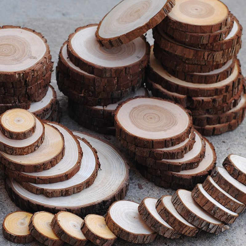 50 Pcs 2cm-10cm Circles Wooden Round Ring For Craft Card Making Scrapbooking Table Number Cards Wedding Decoration Gift Tags