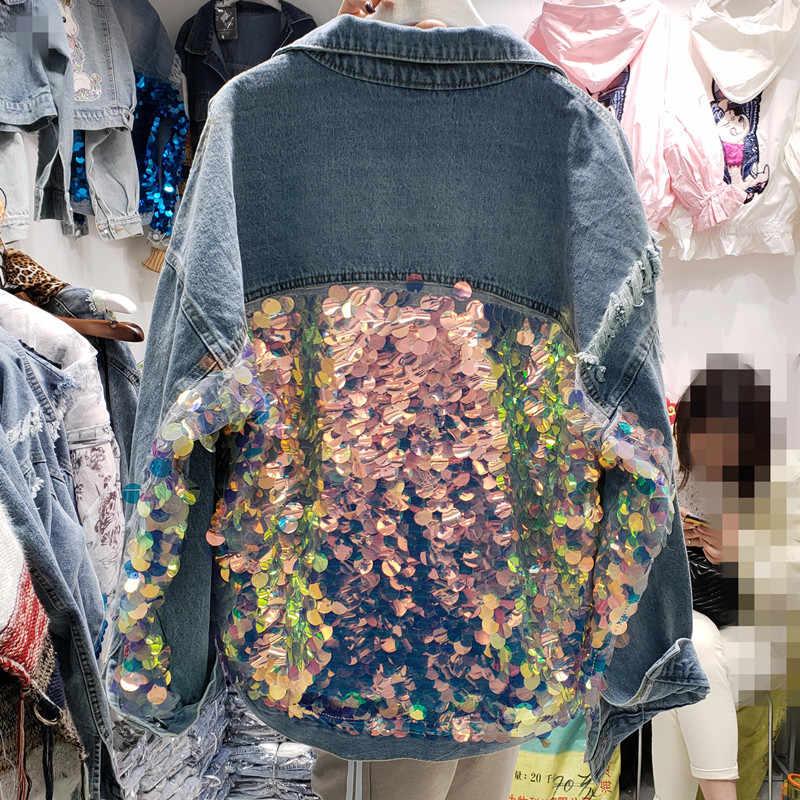 2019 Весенняя Новинка, джинсовая куртка для женщин, европейский стиль, с блестками, свободное джинсовое пальто для девушек, студенток, уличные джинсовые пальто для женщин