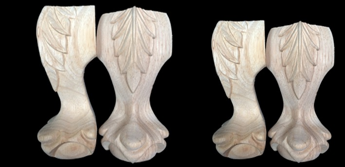 4Pieces Lot Height 12x6cm European Furniture Solid Legs Carved Wood Bathroom Cabinet Wood Foot in Furniture Legs from Furniture