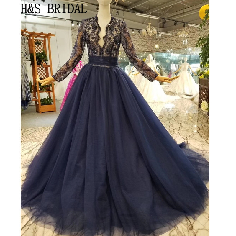 H&S Bridal Long Sleeve Prom Dresses abendkleider V neck Lace elegant formal dress Robe de Soiree abiye gece elbisesi gowns