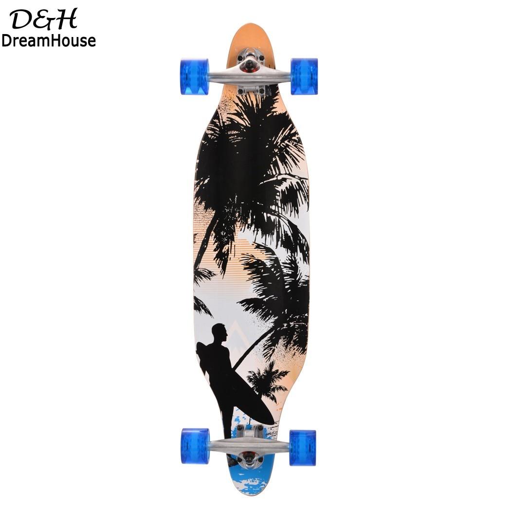 New Cool 4 Wheels Long Board Skateboard Sport Printed Maple Carbon Steel Longboard Adult Student Street Style Road Skate Board