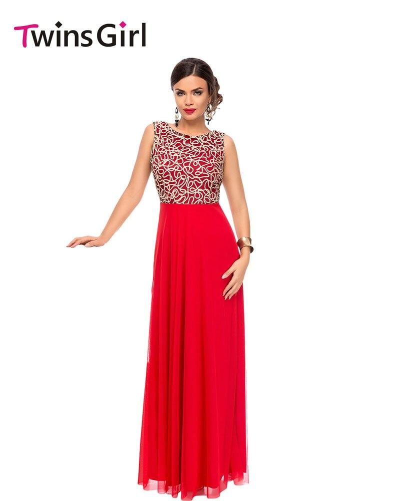 Yeni 2017 yaz parti uzun dress maxi elbisesi altın nakış detay kadınlar için kırmızı tül yerleşimi örgün dress lc61434 vestido