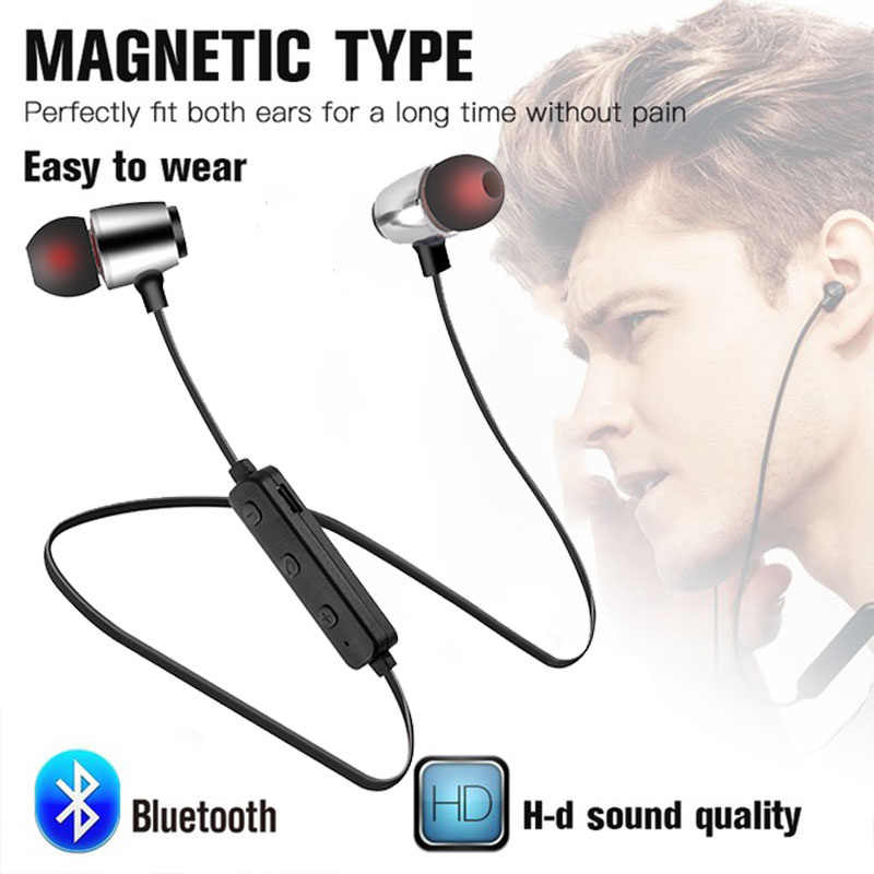 Magnetik Musik Bluetooth Earphone 5.0 Olahraga Neckband Nirkabel Headset dengan MIC Wireless Earphone untuk Samsung Xiaomi Earphone
