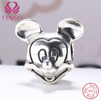 100 Authentic 925 Sterling Silver Mickey Mouse Beads Fit Pandora Charm Bracelet DIY Original Silver Fashion