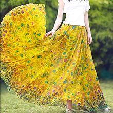 На заказ облегающие женские юбки, шифоновые летние юбки с цветочным принтом и высокой талией для женщин, длинные женские пляжные юбки