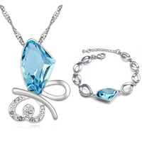 Brand Crystal sieraden sets voor vrouwen Oostenrijkse crystal ketting braclete luxe sieraden bangle voor lady gratis verzending