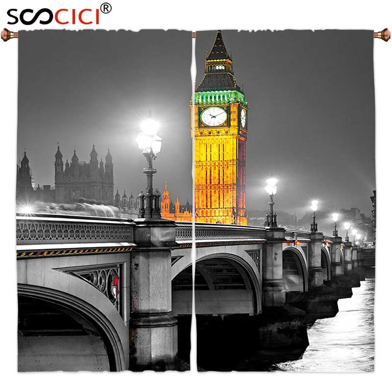 Window Curtains Treatments 2 Panels,London Decor Ancient Big Ben View From The Street Palace Of Westminster Touristic Great