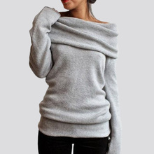 Stylish Women Sweater Elegant Solid Color Slash Collar Long Sleeve Pullover Knitwear For Women stylish chainmail round collar long sleeve sheath dress for women