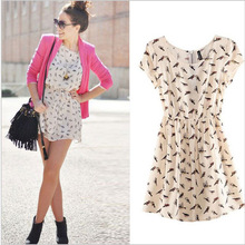 S-3XL New Fashion bird print short-sleeved dresses for women Women Plus size Dresses