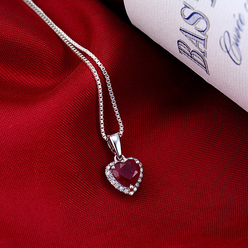 14K White Gold Diamond Red Ruby Pendant