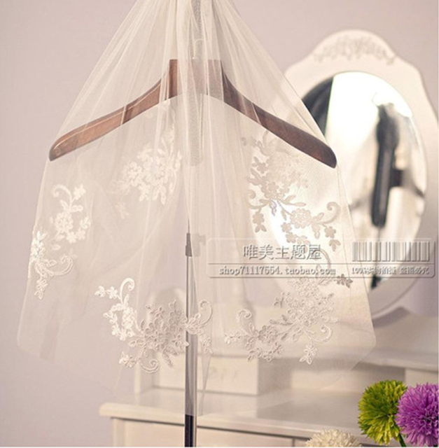 Veu De Noiva Crystal Beaded Bridal Veil 2016 Short Design Single Layer Lace Appliqued Wedding Veils Bridal Waist-Length