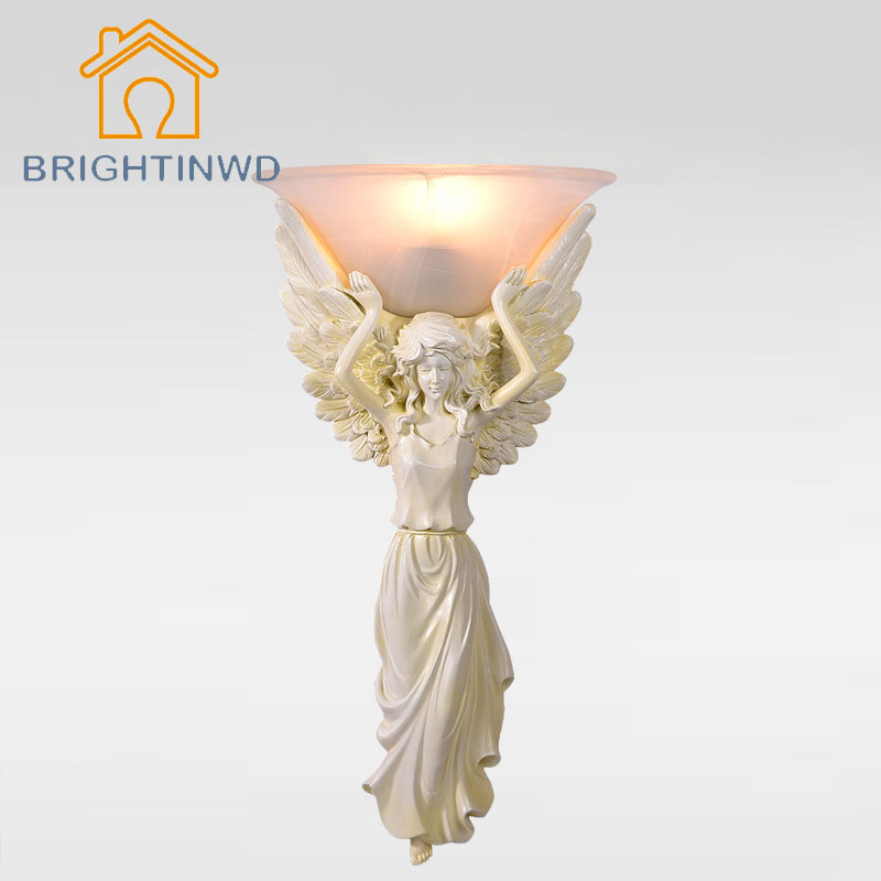 85 265v Modern Brief Wall Lamp Fashion European Style Wall Light Angel Girl Lampshade Sconce For