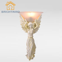 85-265V Modern Wall Lamp Angel Lampshade Sconce European Style for Hotel Bedroom E27 Novelty Fixture Vintage Lamp BRIGHTINWD(China)